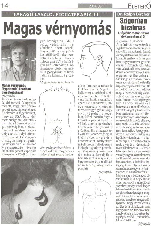 hirudoterápiás tanfolyam hipertónia esetén